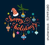 christmas calligraphy.... | Shutterstock .eps vector #519491680