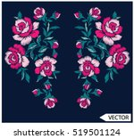 Embroidery ethnic flowers neck line flower design graphics fashion wearing | Shutterstock vector #519501124