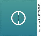 crosshair. white flat icon with ...