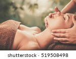 young woman having face massage ... | Shutterstock . vector #519508498