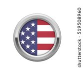 round silver badge with usa flag | Shutterstock .eps vector #519508960