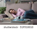 young attractive girl sleeping... | Shutterstock . vector #519510010