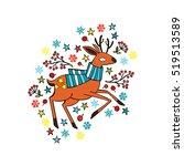 deer in knit scarf. stars ... | Shutterstock .eps vector #519513589