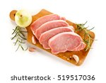 raw pork chops on cutting board ... | Shutterstock . vector #519517036