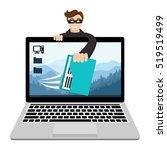hacker breaks into computer and ... | Shutterstock .eps vector #519519499