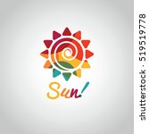 summer sun colorful symbol on... | Shutterstock . vector #519519778