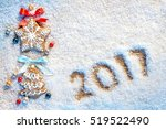 christmas cookies on snowy... | Shutterstock . vector #519522490