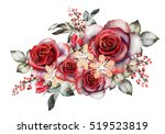 Stock photo watercolor flowers romantic floral illustration red rose branch of flowers isolated on white 519523819
