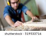 carpenter cutting wooden plank. | Shutterstock . vector #519533716