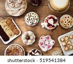 table with cakes  cookies ... | Shutterstock . vector #519541384