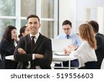 businessman with colleagues on... | Shutterstock . vector #519556603