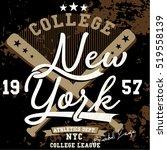 vintage college baseball... | Shutterstock .eps vector #519558139