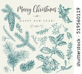 vector set with christmas... | Shutterstock .eps vector #519560119
