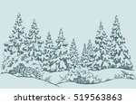 furry snowcovered piceas in... | Shutterstock .eps vector #519563863
