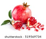 juicy pomegranate and its half... | Shutterstock . vector #519569734