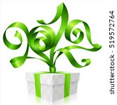 vector green ribbon and gift... | Shutterstock .eps vector #519572764