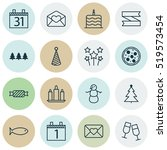 set of 16 new year icons.... | Shutterstock .eps vector #519573454
