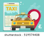 taxi service. smartphone.... | Shutterstock .eps vector #519574408