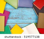 colorful books on a wooden... | Shutterstock . vector #519577138