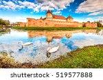 Small photo of Fagaras, Romania. Cloudy scenery with Fagaras Citadel, built in Transylvania in XVth century.
