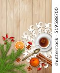 christmas tea party background. ... | Shutterstock .eps vector #519588700