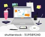 a bloggers desktop with a... | Shutterstock .eps vector #519589240