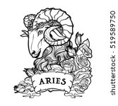 zodiac sign of aries with a... | Shutterstock .eps vector #519589750