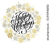 happy holidays text for winter... | Shutterstock .eps vector #519594850