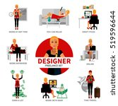 freelance designer set with... | Shutterstock . vector #519596644