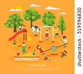 kindergarten poster of kids... | Shutterstock . vector #519596830