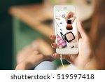 woman watching online tutorial... | Shutterstock . vector #519597418