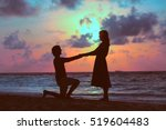 marriage proposal at sunset... | Shutterstock . vector #519604483
