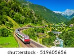 intercity train at the gotthard ... | Shutterstock . vector #519605656