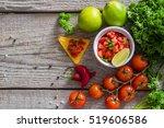 salsa sauce and ingredients | Shutterstock . vector #519606586
