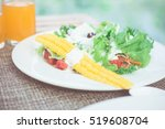 breakfast with bread  fried... | Shutterstock . vector #519608704
