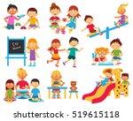 kindergarten flat icons set... | Shutterstock . vector #519615118