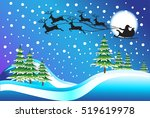 santa with deer over the forest....