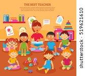 young kindergarten teacher... | Shutterstock . vector #519621610