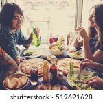 friends eating pizza party... | Shutterstock . vector #519621628