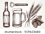 set of beer objects. hand... | Shutterstock .eps vector #519623683