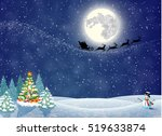christmas landscape at night.... | Shutterstock . vector #519633874