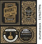 Stock vector set of vintage badge for whiskey packing 519637996