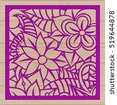 die cut card. laser cut vector... | Shutterstock .eps vector #519644878