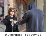 Small photo of Young addicted woman is buying drugs from drug dealer.