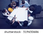 top view of people around table ... | Shutterstock . vector #519650686