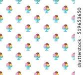 Stock vector three scoops of chocolate strawberry and vanilla ice cream in bowl pattern cartoon illustration 519653650