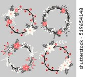 a set of christmas floral... | Shutterstock .eps vector #519654148