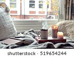 cozy home. candles  book and... | Shutterstock . vector #519654244