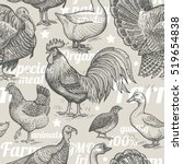 seamless pattern with poultry ... | Shutterstock .eps vector #519654838