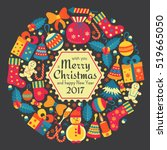 christmas greeting card with... | Shutterstock .eps vector #519665050